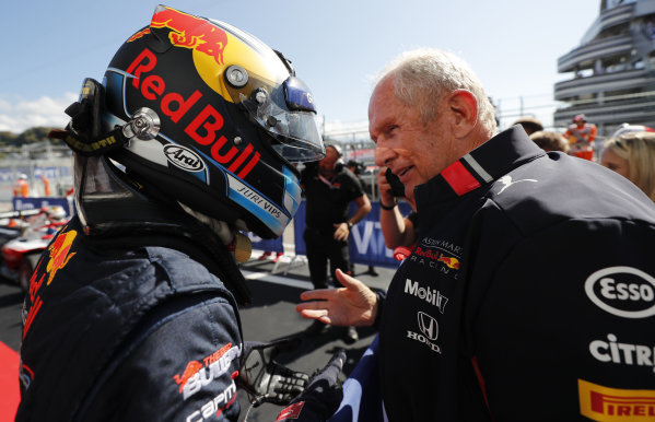 SOCHI AUTODROM, RUSSIAN FEDERATION - SEPTEMBER 29: Race winner Juri Vips (EST) Hitech Grand Prix with Helmut Marko, Consultant, Red Bull Racing in Parc Ferme during the Sochi at Sochi Autodrom on September 29, 2019 in Sochi Autodrom, Russian Federation. (Photo by Simon Galloway / LAT Images / FIA F3 Championship)