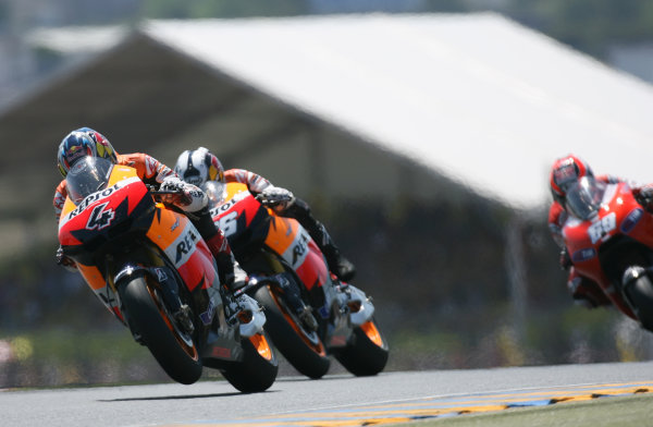 France LeMans 21- 23 May 2010Andrea Dovizioso Repsol Honda Team leads team mate Dani Pedrosa and Nicky Hayden