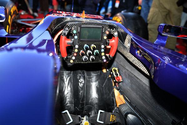 Scuderia Toro Rosso STR9 cockpit and steering wheel. Scuderia Toro Rosso STR9 Launch, Jerez, Spain, Monday 27 January 2014.